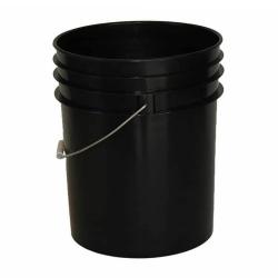 Premium Black 5 Gallon Round Bucket with Wire Bail & Plastic Grip