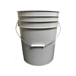 Premium Gray 5 Gallon Round Bucket with Wire Bail & Plastic Grip