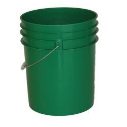 Premium Green 5 Gallon Round Bucket with Wire Bail & Plastic Grip