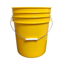 Premium Yellow 5 Gallon Round Bucket with Wire Bail & Plastic Grip