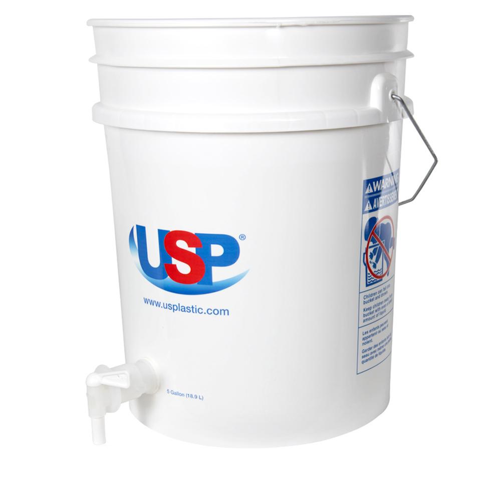 Premium White 5 Gallon Tamco® Modified Bucket with Spigot & USP Logo
