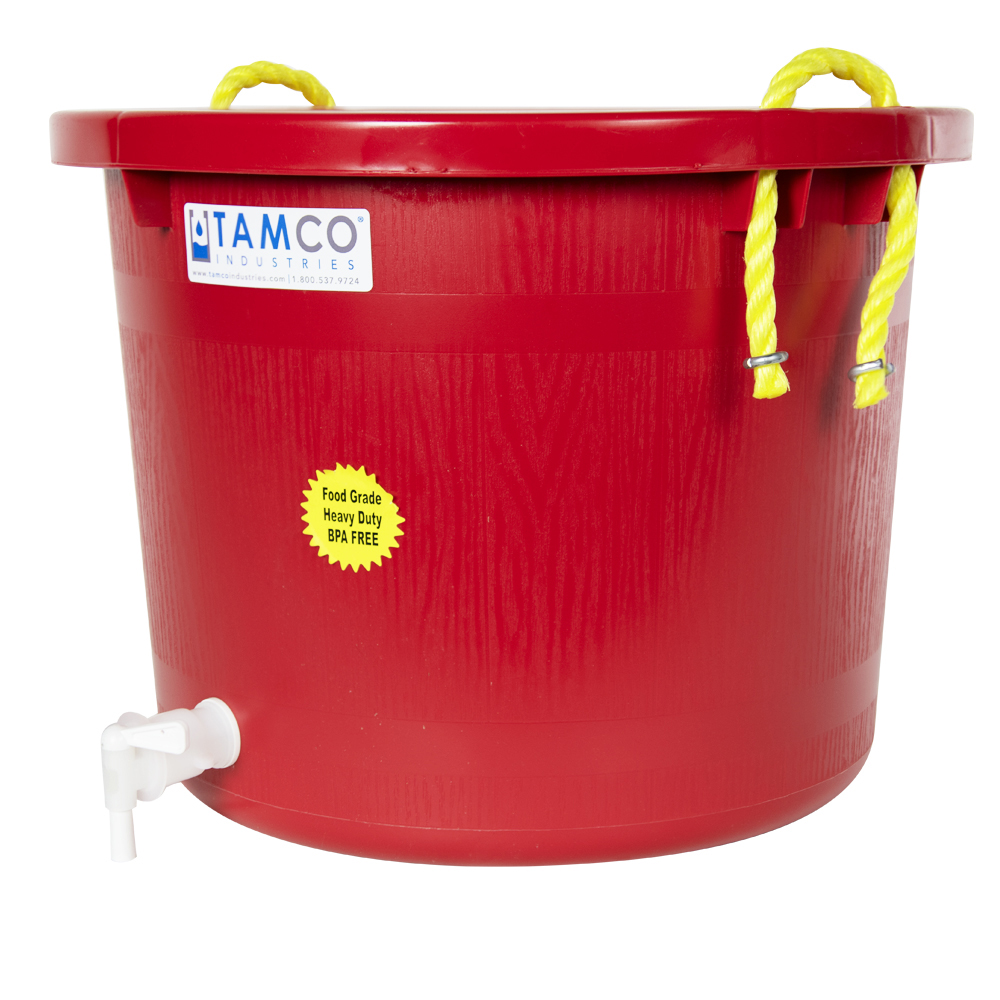 10 Gallon Red Multi-Purpose Bucket with Spigot