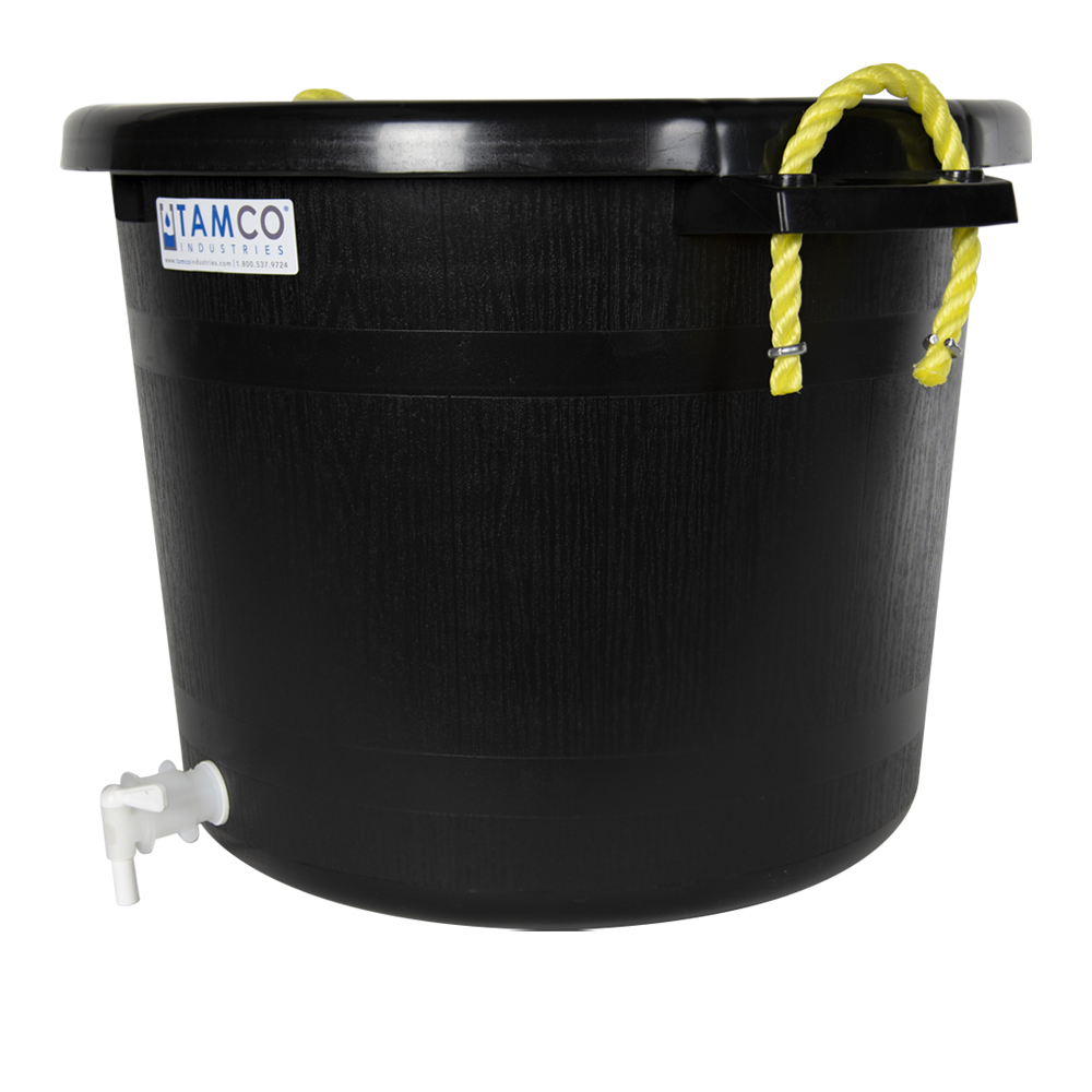 17-1/2 Gallon Black Multi-Purpose Bucket Modified by Tamco® with Spigot