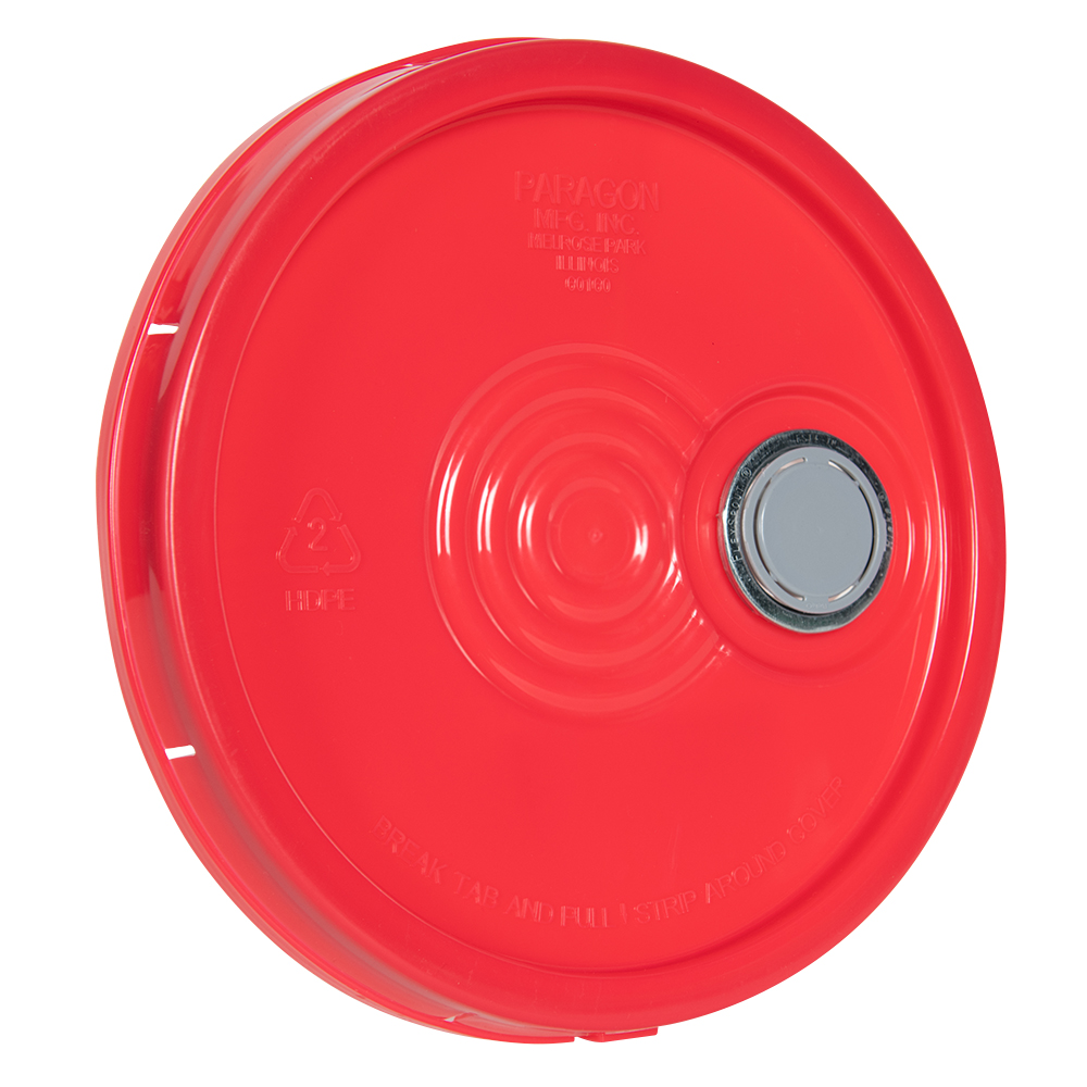 Red Tear Tab Lid with Spout for 6 Gallon Economy Buckets