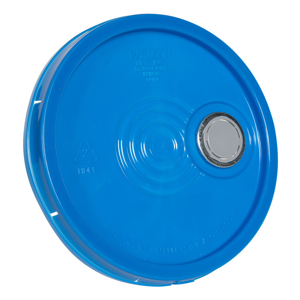 Blue Tear Tab Lid with Spout for 6 Gallon Economy Buckets