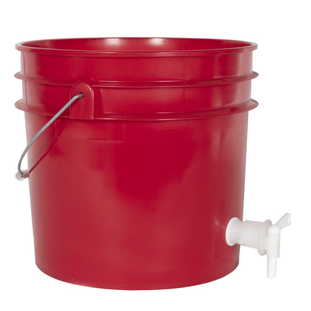 Premium Red 3.5 Gallon Tamco® Modified Bucket with Spigot