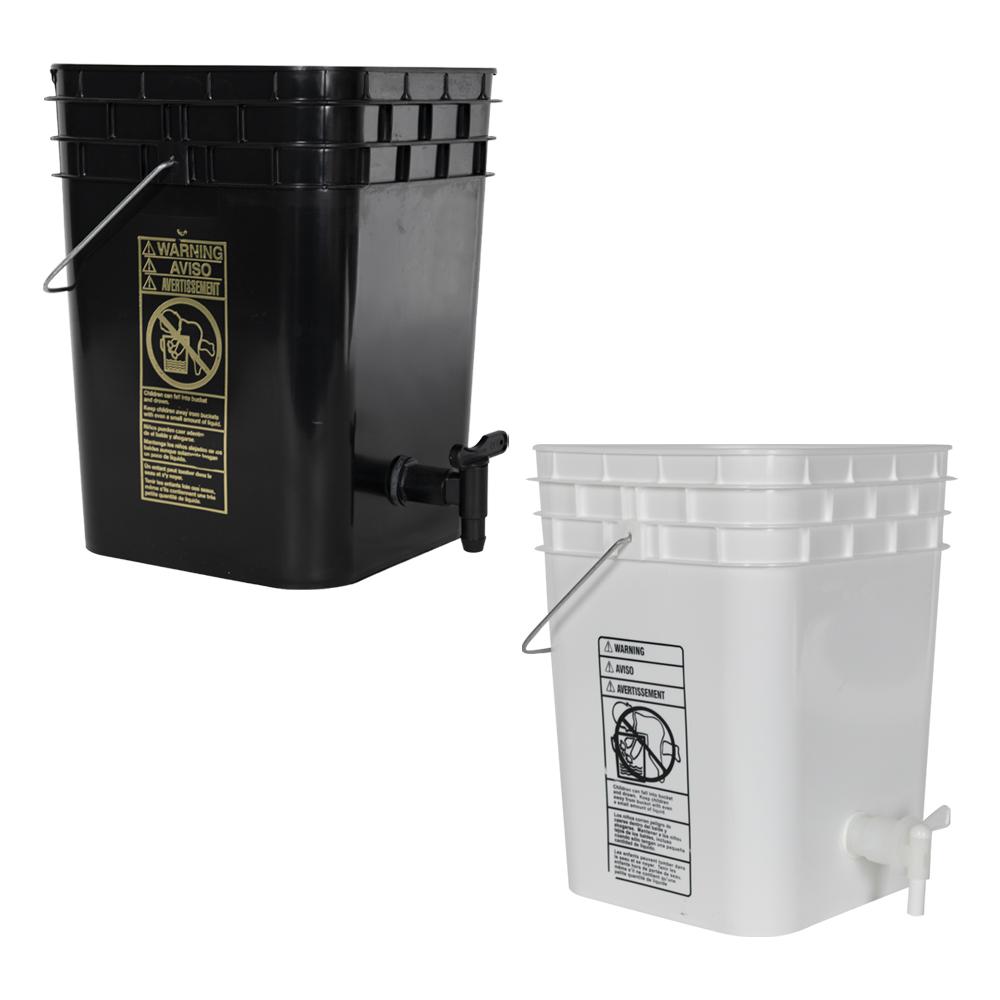 Tamco® Modified Premium 4 Gallon Square Buckets with Spigots
