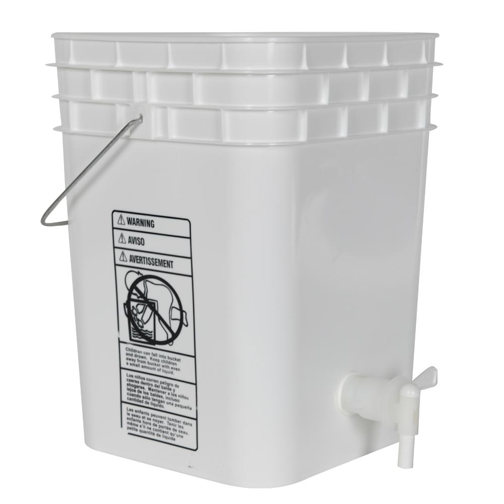 Premium White 4 Gallon Tamco® Modified Square Bucket with Spigot