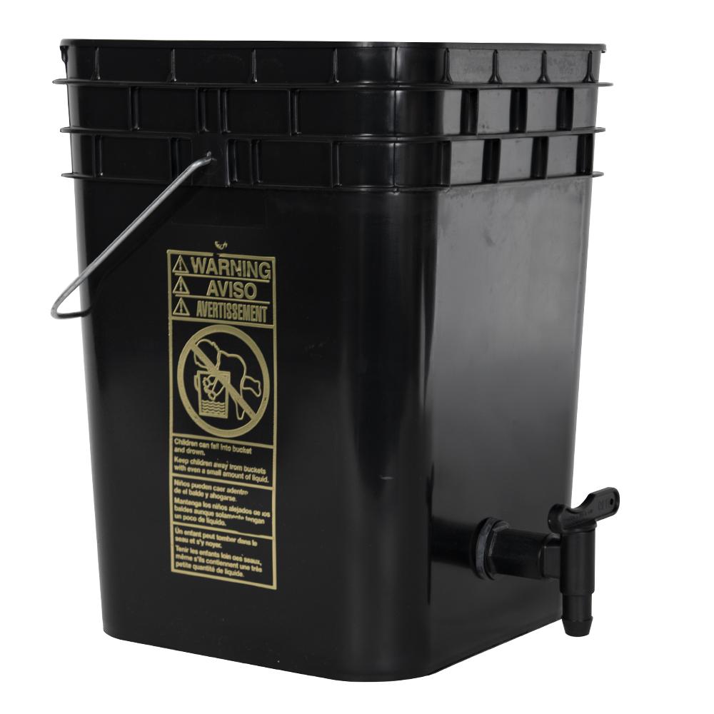 Premium Black 4 Gallon Tamco® Modified Square Bucket with Spigot