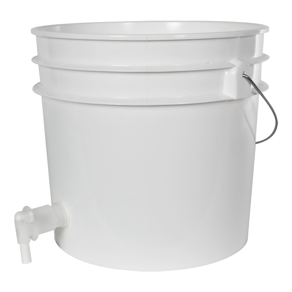 Premium White 3.5 Gallon Tamco® Modified Bucket with Spigot