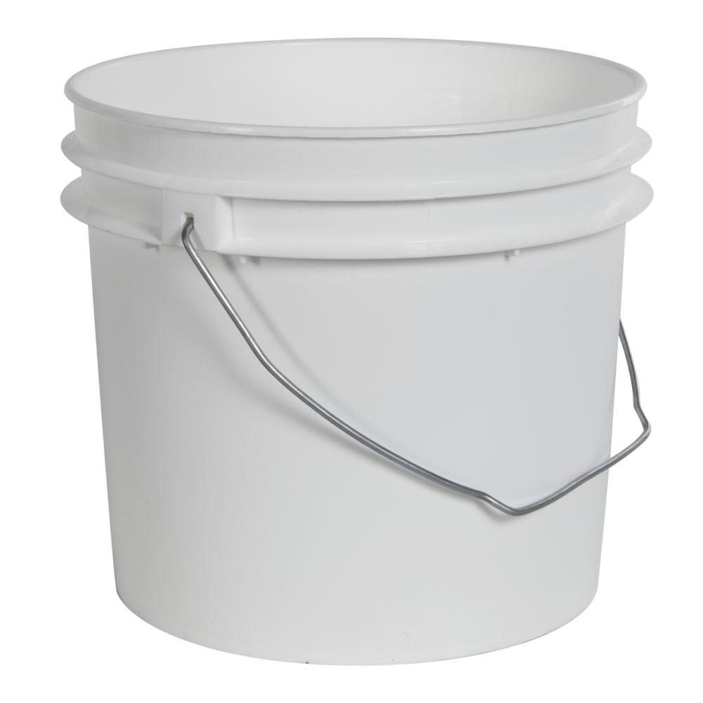 1 Gallon Economy White Round Bucket with Wire Bail