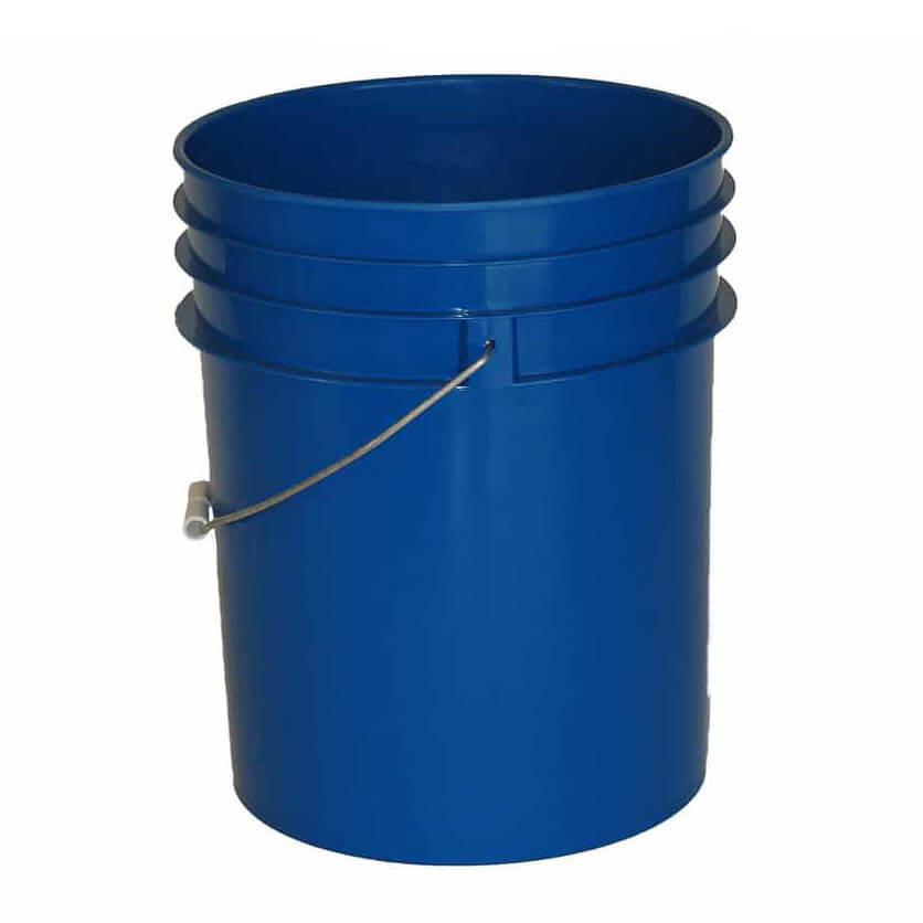Premium Blue 5 Gallon Round Bucket with Wire Bail & Plastic Grip