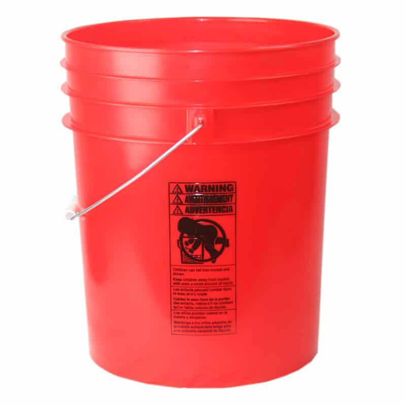 Premium Red 5 Gallon Round Bucket with Wire Bail & Plastic Grip