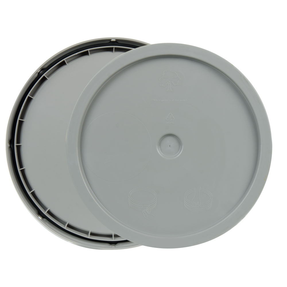 Gray 3.5 to 5.25 Gallon HDPE Lid with Tear Tab
