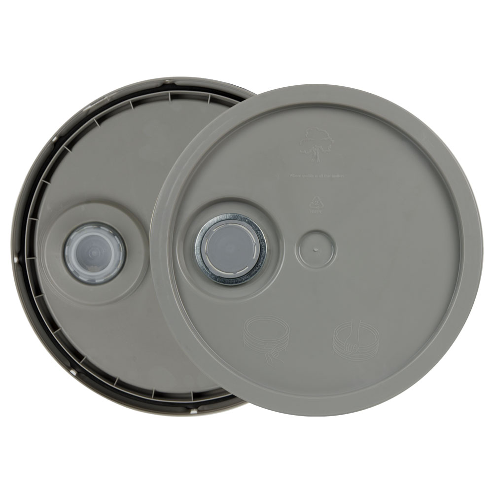 Gray 3.5 to 5.25 Gallon HDPE Lid with Pour Spout