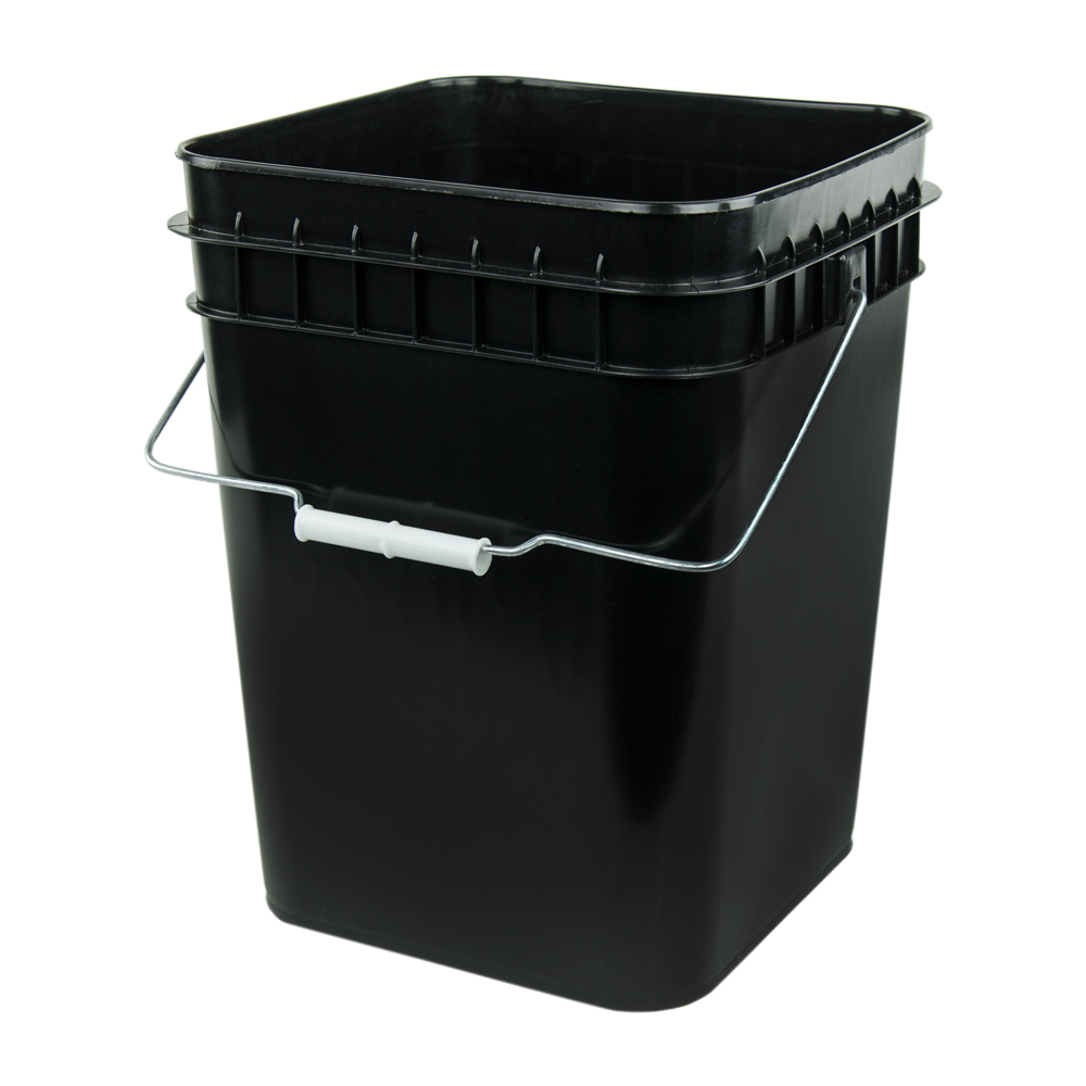 Economy Black 4 Gallon Square Bucket U S Plastic Corp