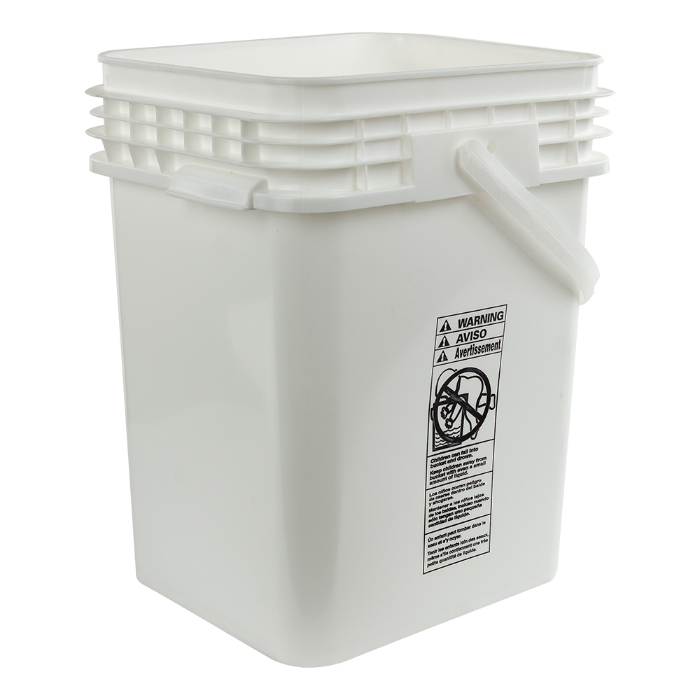 5 Gallon White Life Latch 174 Square Pail U S Plastic Corp