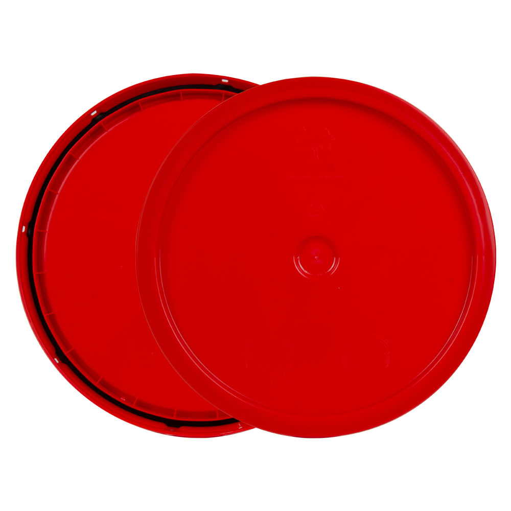 Red 3.5 to 5.25 Gallon HDPE Lid with Tear Tab