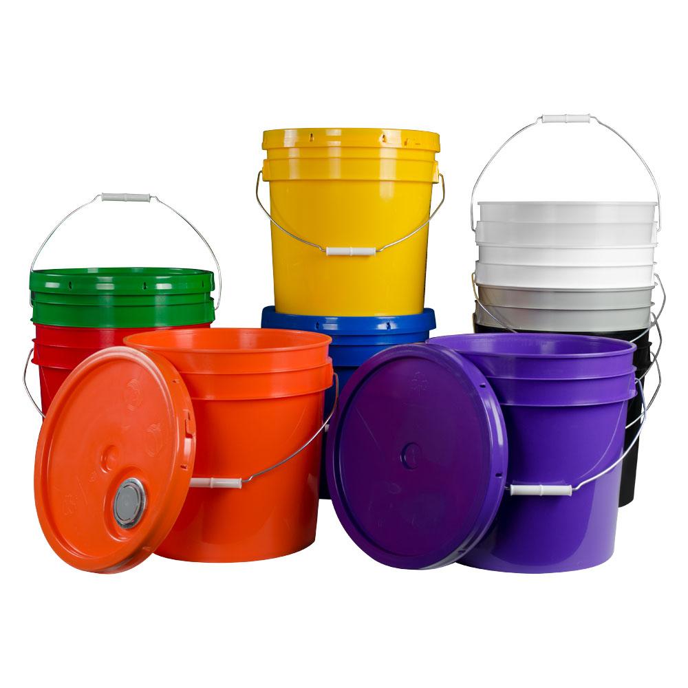 4.25 Gallon HDPE Colored Buckets & Lids