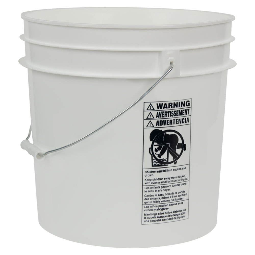 White 4.25 Gallon HDPE Bucket