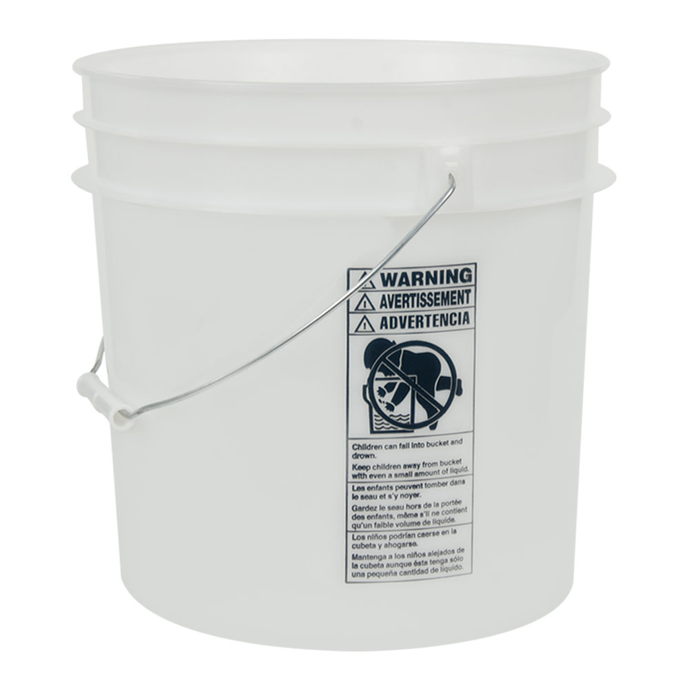 Natural 4.25 Gallon HDPE Bucket