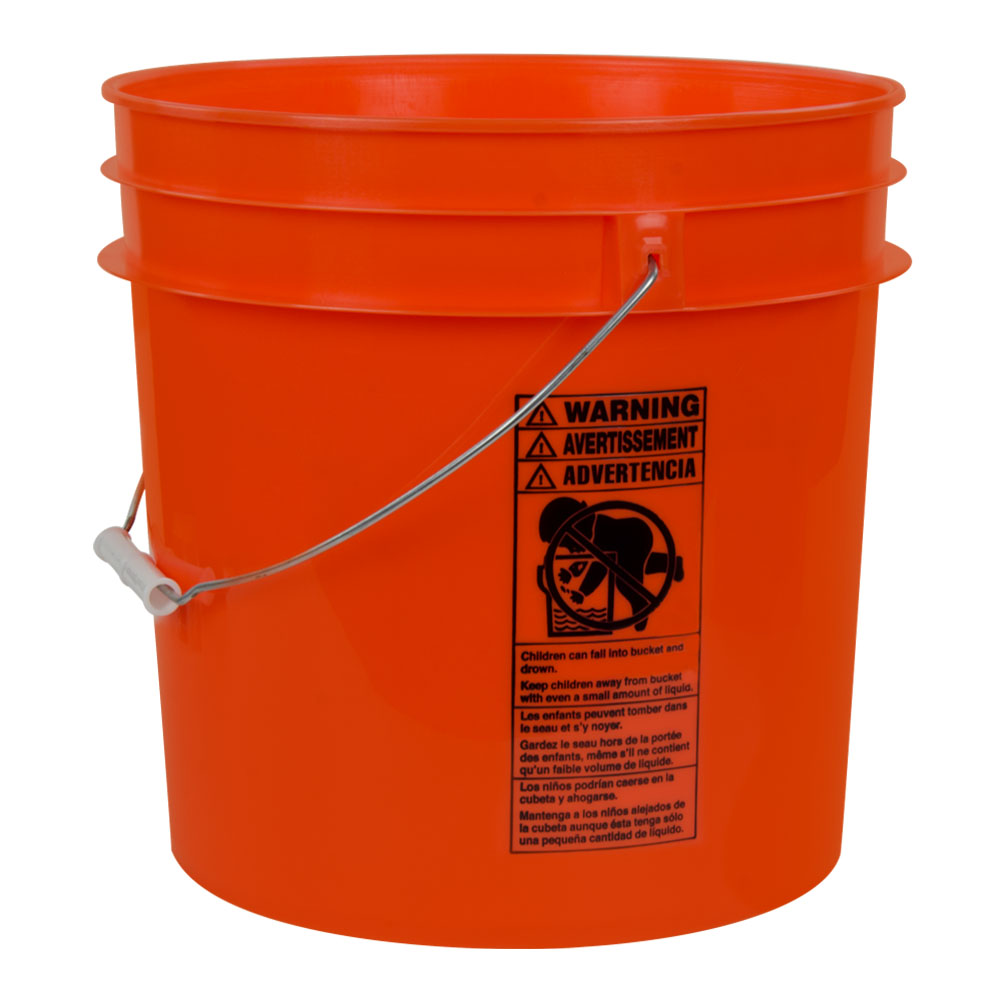 Orange 4.25 Gallon HDPE Bucket