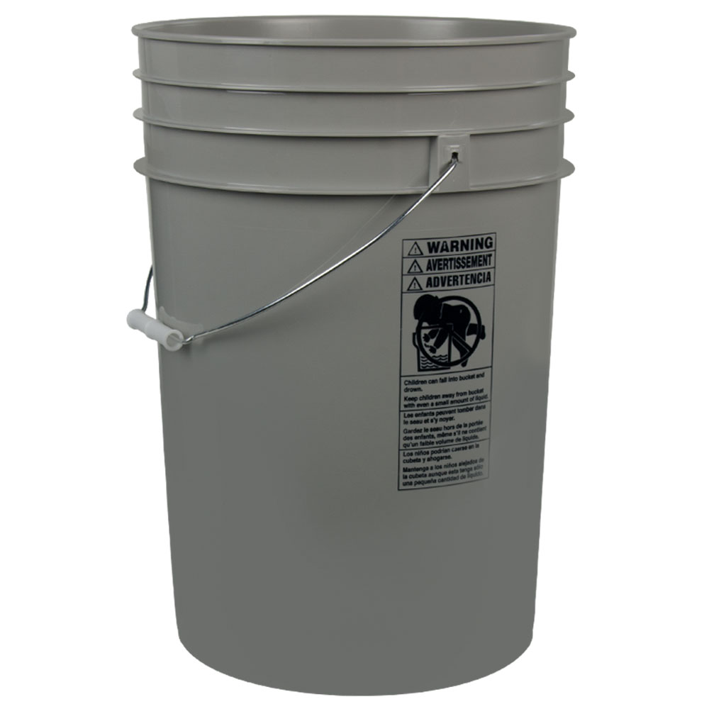Gray 6 Gallon HDPE Bucket
