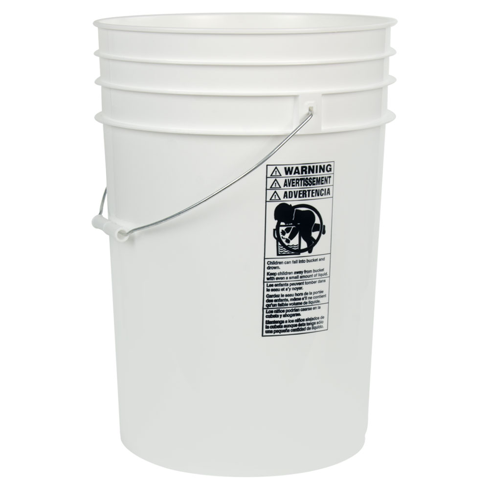 White 6 Gallon HDPE Bucket