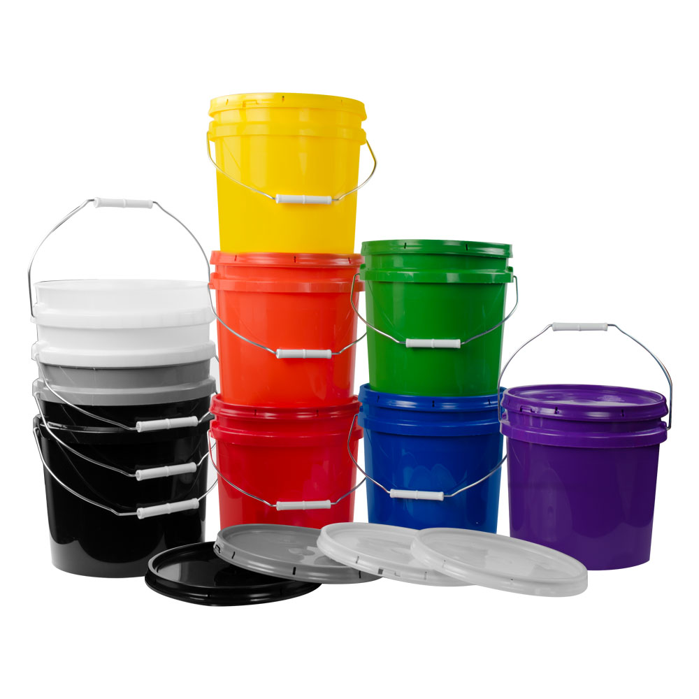 2 Gallon HDPE Colored Buckets Lids United States Plastic Corp