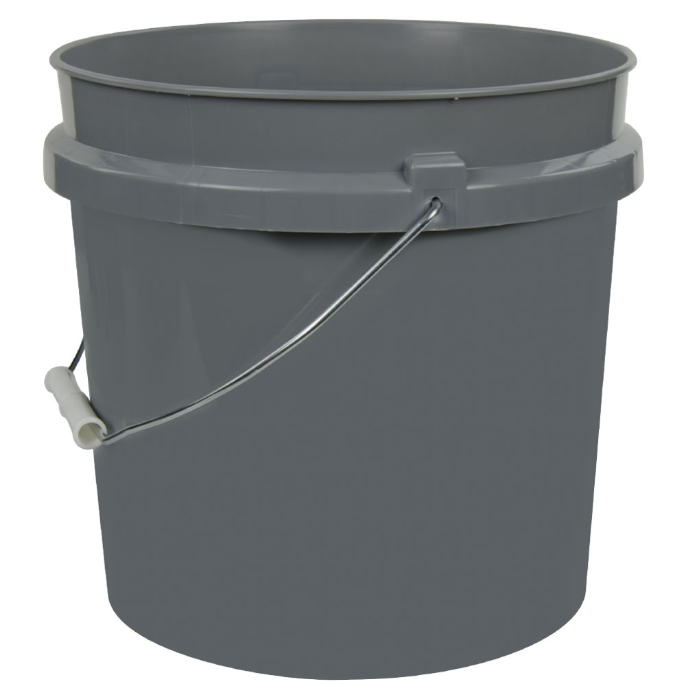 Gray 2 Gallon HDPE Bucket
