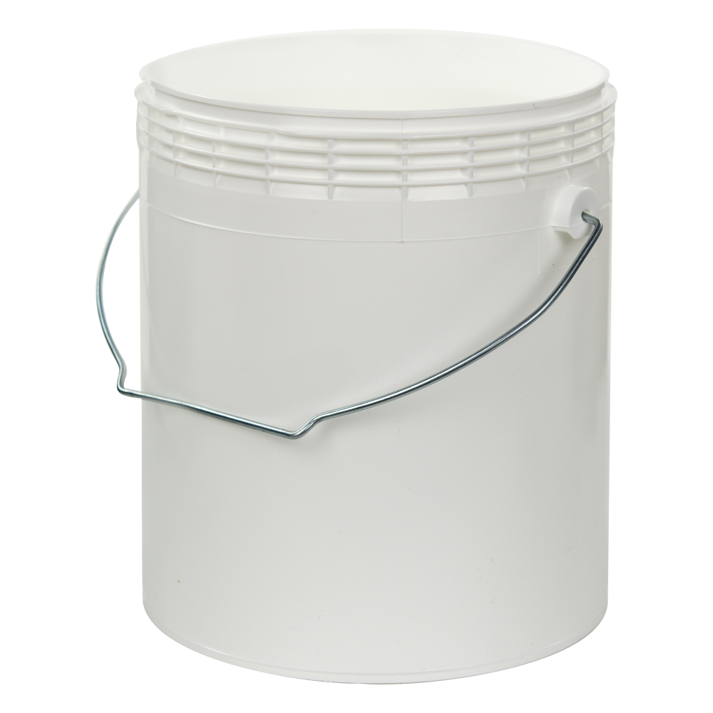 1 Gallon White Rim-less HDPE Pail with Handle