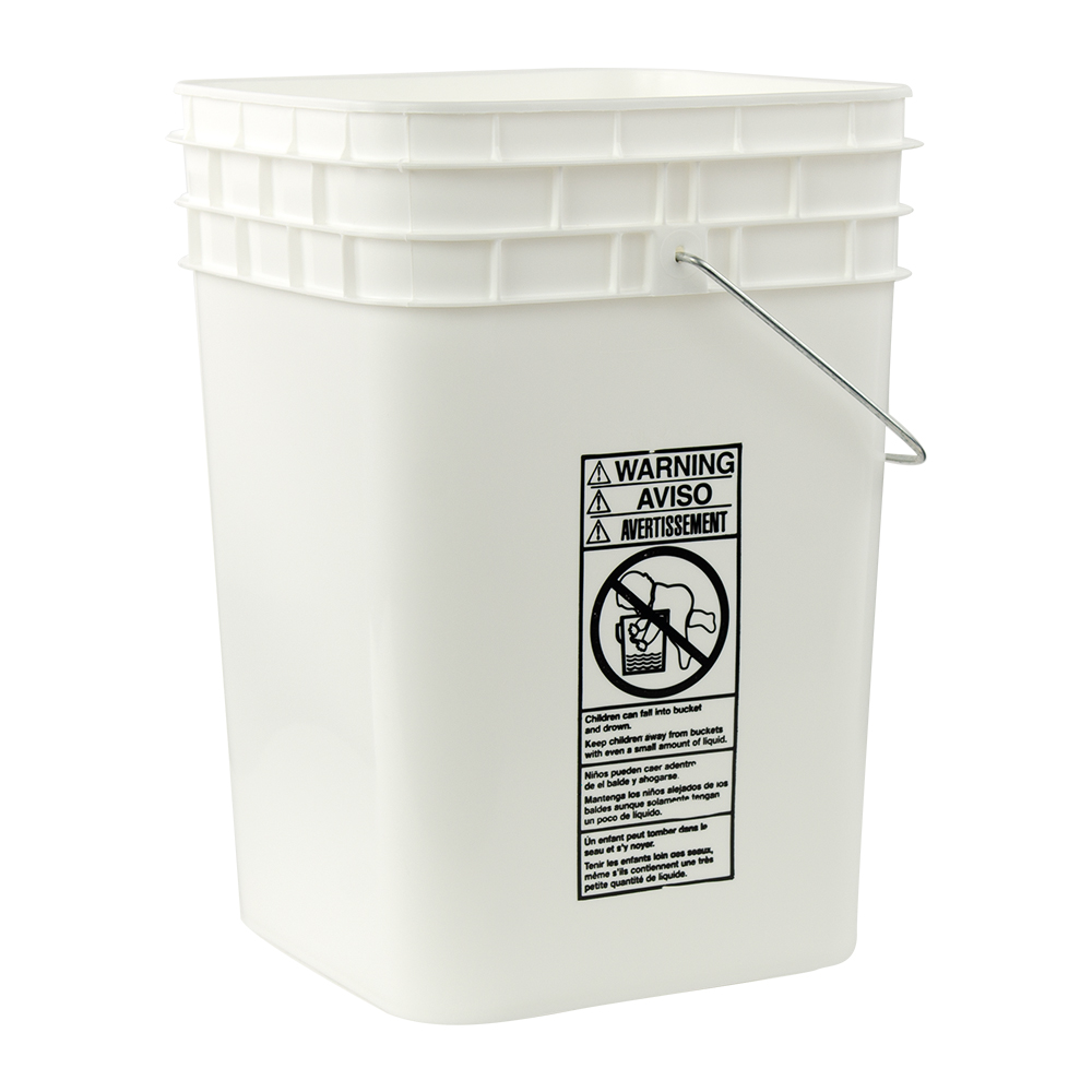 4-1/4 Gallon White HDPE Square Bucket (Lid Sold Separately)