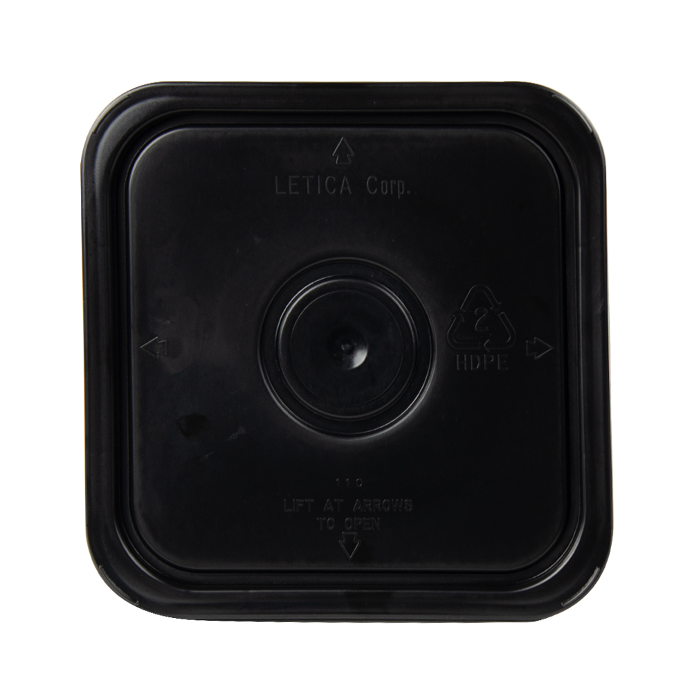 3-1/2, 4 & 4-1/4 Gallon Black HDPE Square Lid