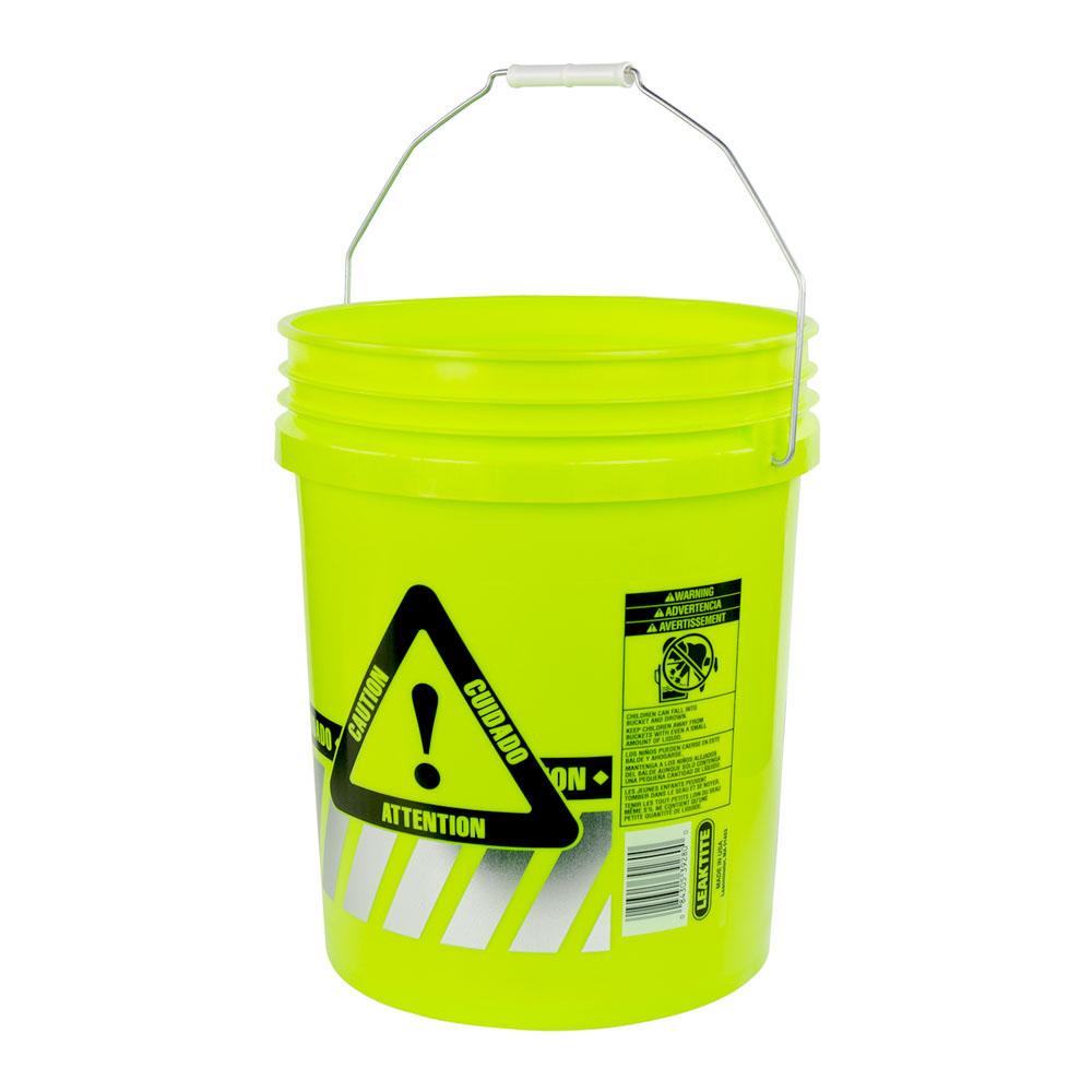 5 Gallon Reflective Fluorescent Yellow Round Bucket
