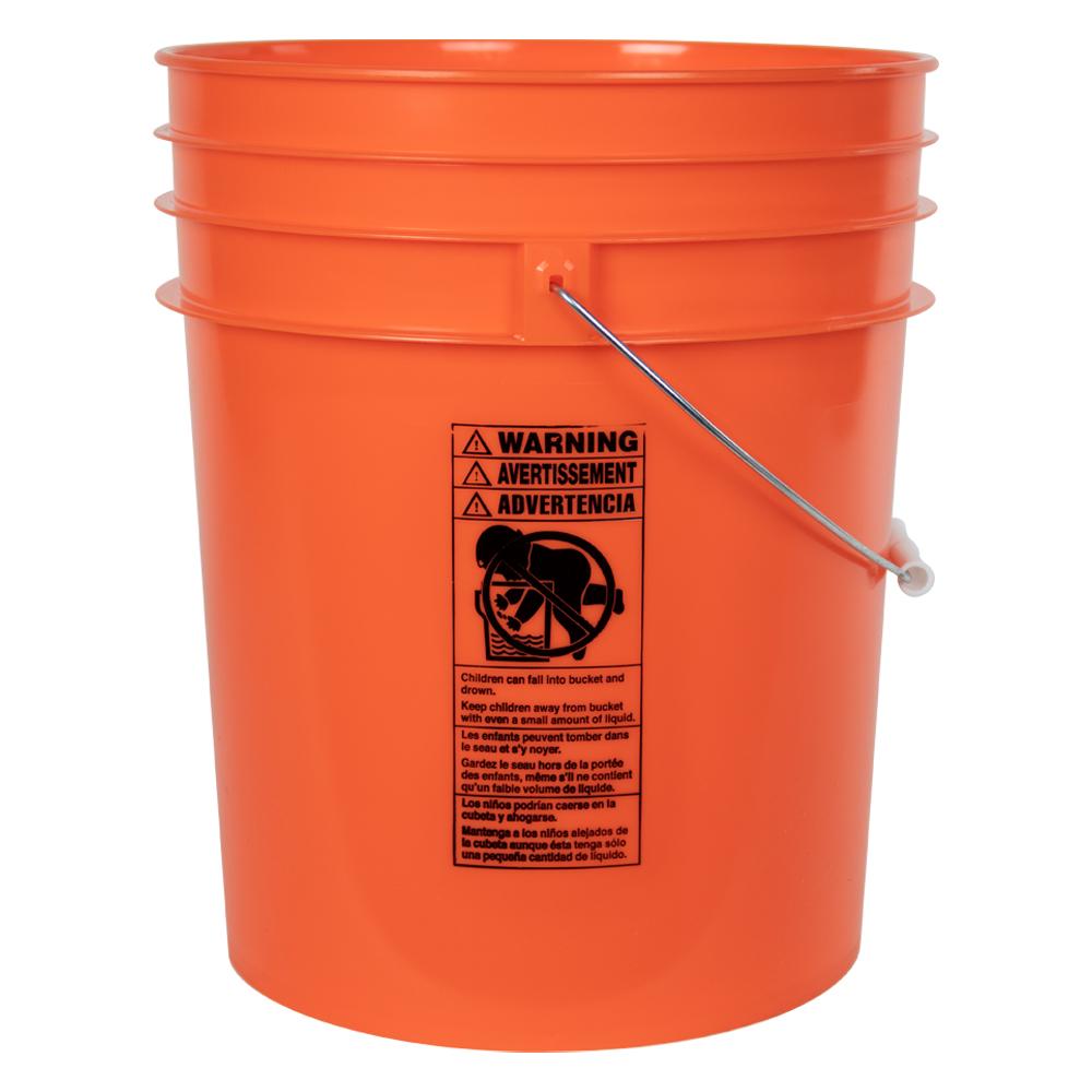 Orange 5 Gallon Premium HDPE Bucket