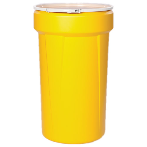 55 Gallon Yellow Open Head Poly Drum with Plastic Lever-Lock Ring