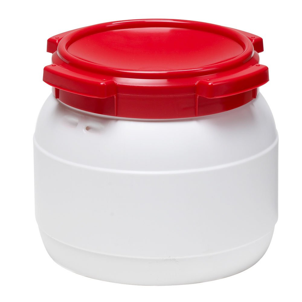 2.6 Gallon White UN Rated HDPE Wide Mouth Drum with Red Lid - Stackable