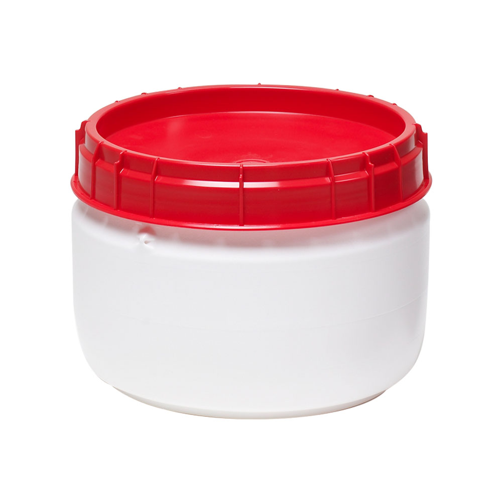 4.5 Gallon White UN Rated Open Drum with Red Lid