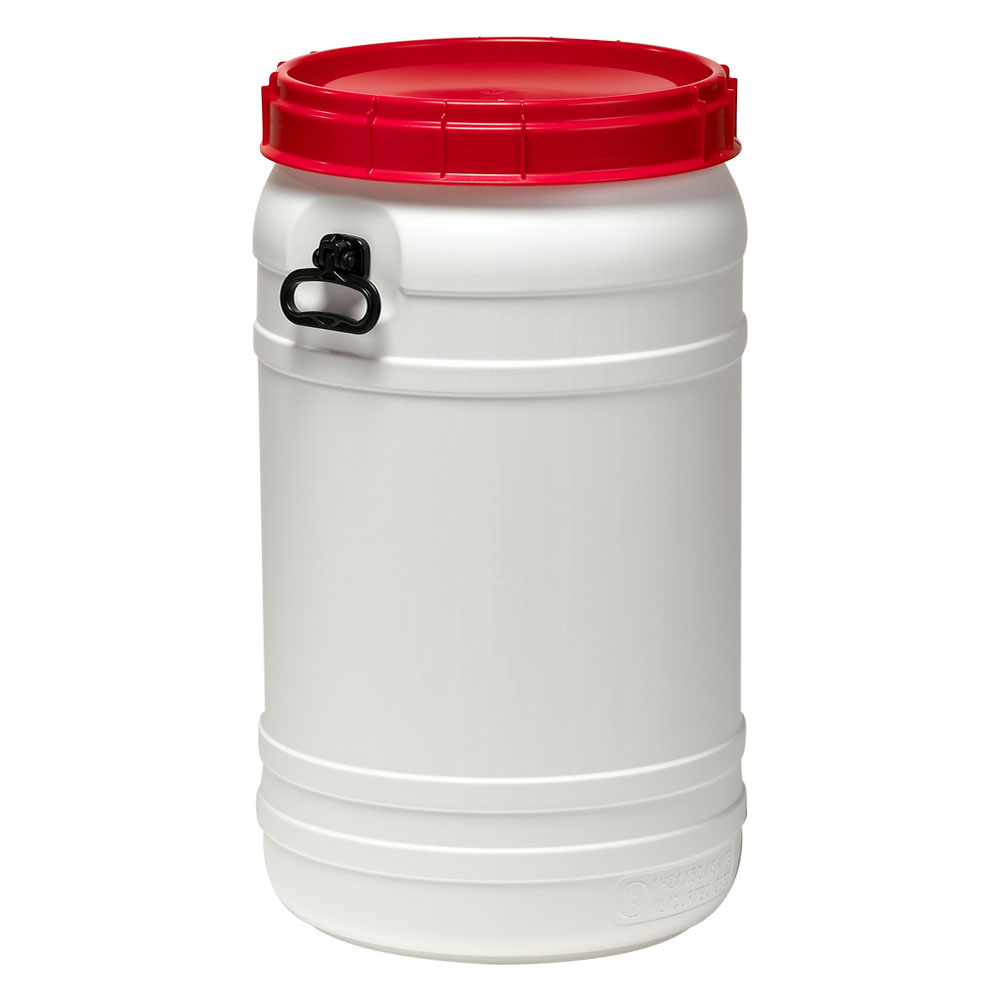 29.1 Gallon White UN Rated Open Drum with Red Lid & Hand Grip