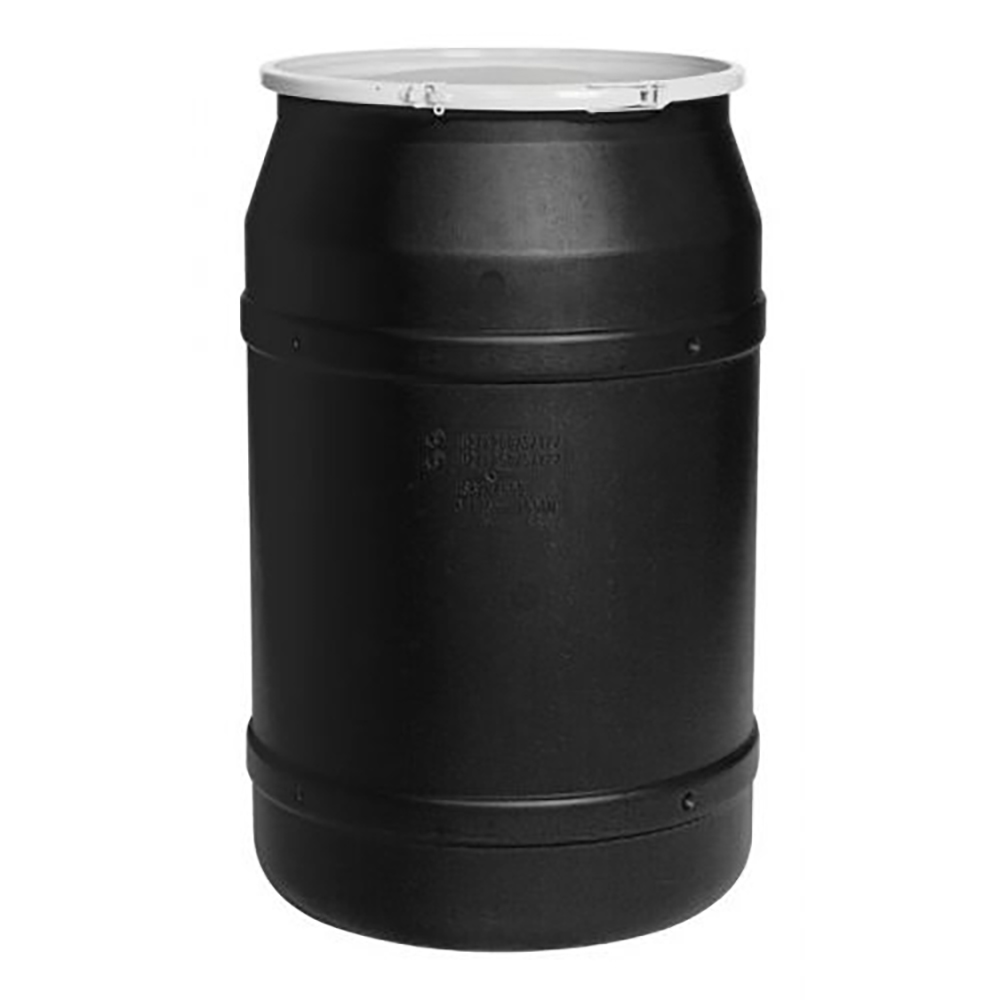 55 Gallon Black Straight Sided Open Head Poly Drum with Plain Lid & Plastic Lever-Locking Ring