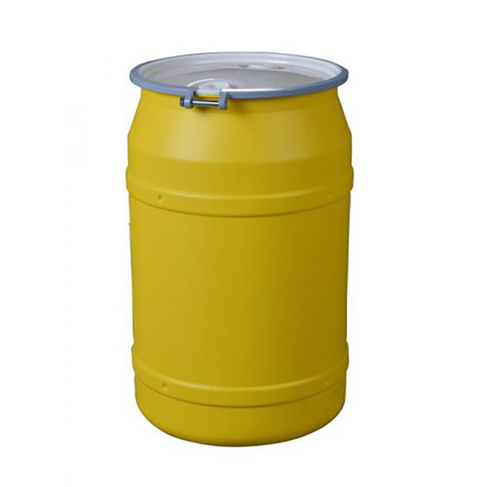 """55 Gallon Yellow Straight Sided Open Head Poly Drum with 2"""" & 2"""" Bungs Lid & Metal Bolt Ring"""