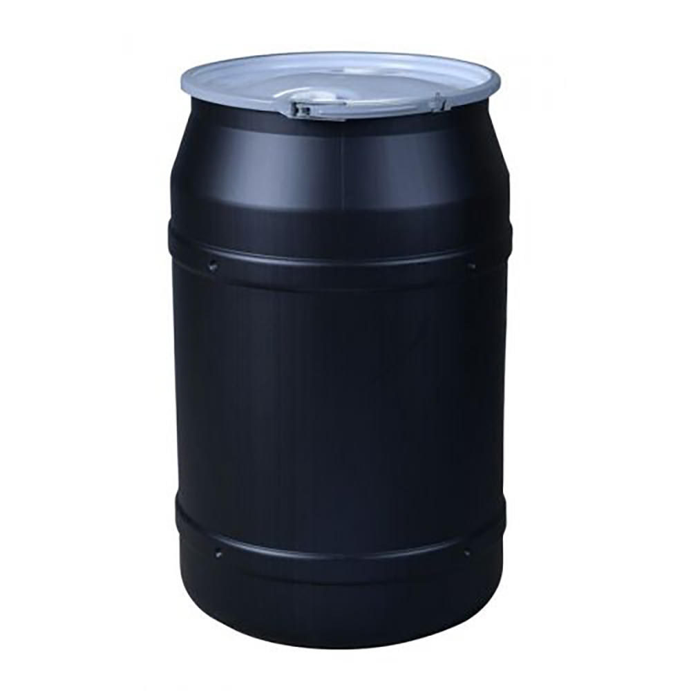 """55 Gallon Black Straight Sided Open Head Poly Drum with 2"""" & 3/4"""" Bungs Lid & Metal Lever-Locking Ring"""