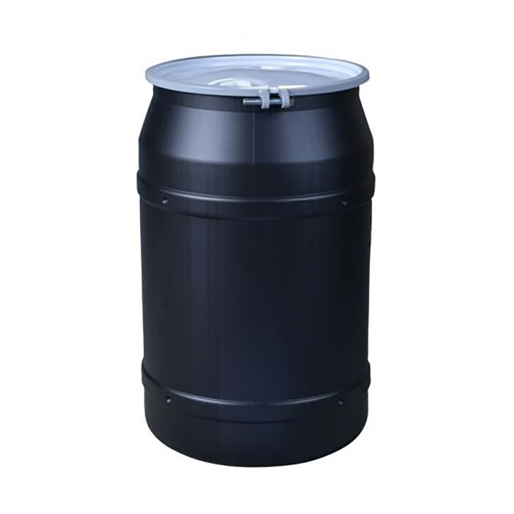 """55 Gallon Black Straight Sided Open Head Poly Drum with 2"""" & 2"""" Bungs Lid & Metal Bolt Ring"""