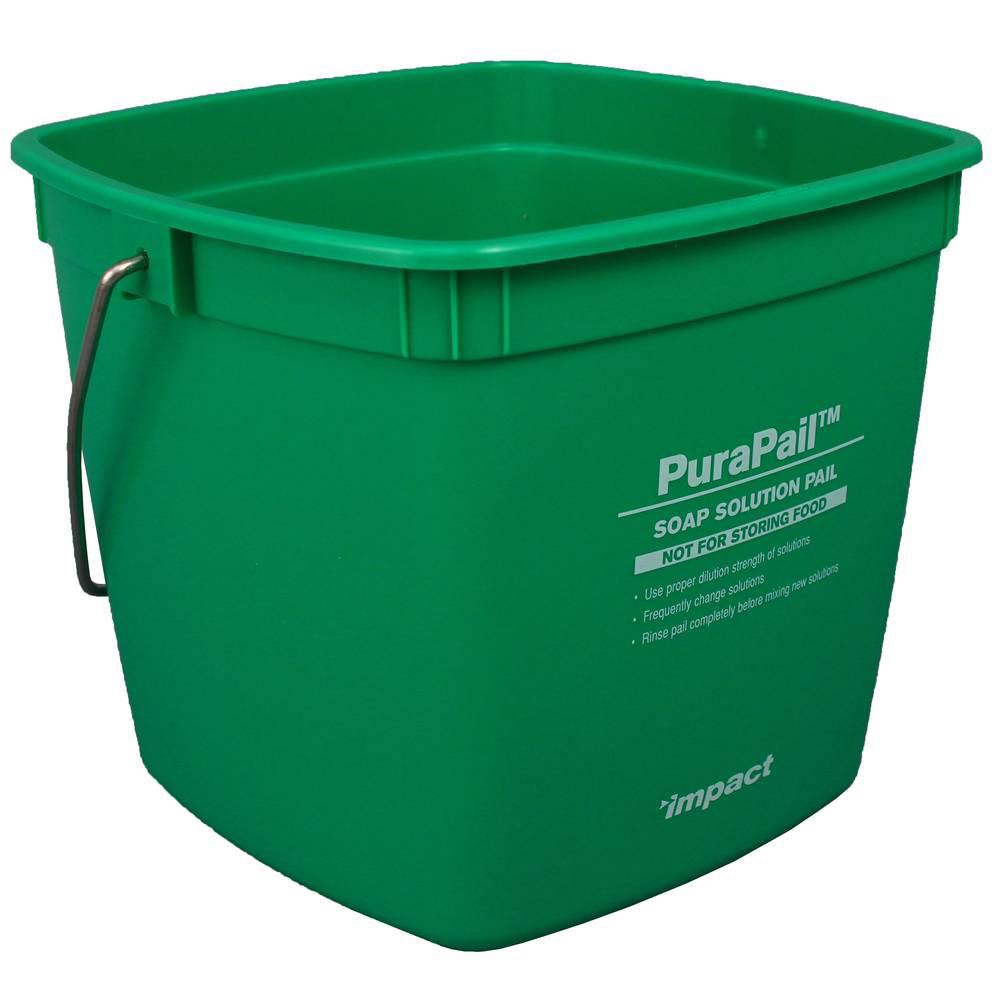 3 Quart Green PuraPail™ Utility Pail - Soap Solution Imprint