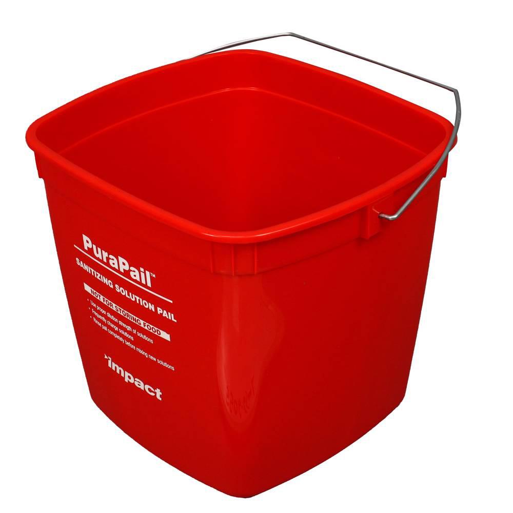 6 Quart Red PuraPail™ Utility Pail - Sanitizer Imprint