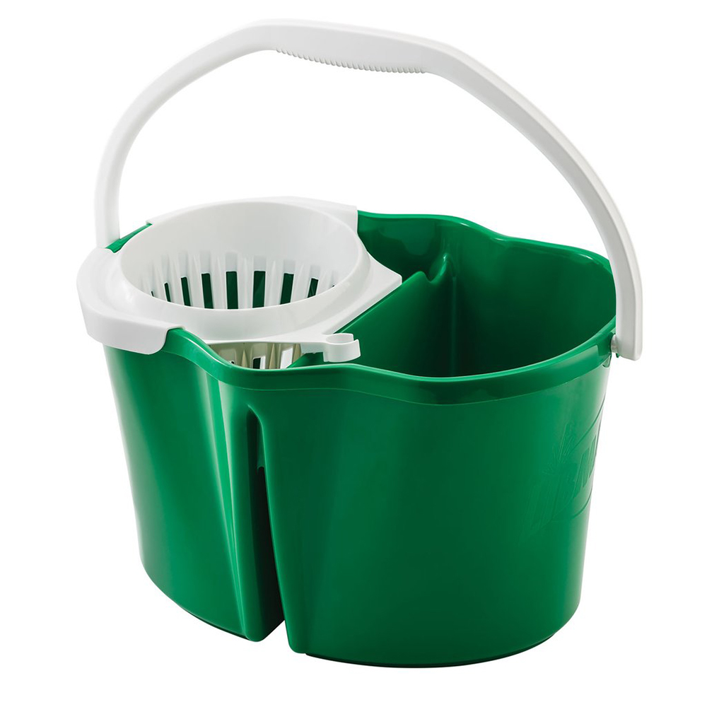 Green 4 Gallon Clean & Rinse Bucket with Wringer & White Handle