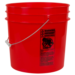 Red 4.25 Gallon HDPE Bucket
