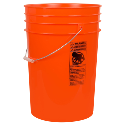 Orange 6 Gallon HDPE Bucket