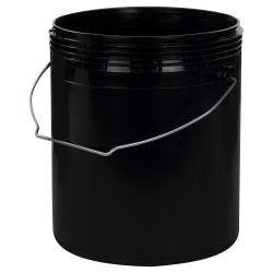1 Gallon Black Rim-less HDPE Pail with Handle