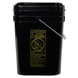 Letica® 4 Gallon Black HDPE Square Bucket (Lid Sold Separately)